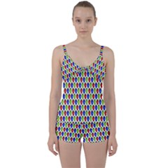 Colorful Shiny Eat Edible Food Tie Front Two Piece Tankini