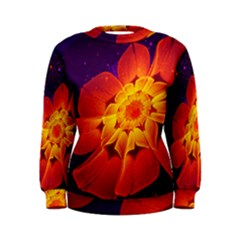 Royal Blue, Red, And Yellow Fractal Gerbera Daisy Women s Sweatshirt