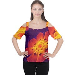 Royal Blue, Red, And Yellow Fractal Gerbera Daisy Cutout Shoulder Tee