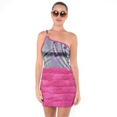 One Shoulder Ring Trim Bodycon Dress