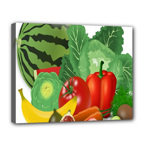 Fruits Vegetables Artichoke Banana Canvas 14  X 11