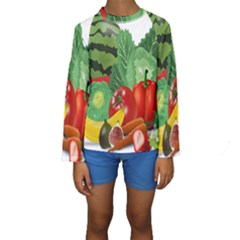Fruits Vegetables Artichoke Banana Kids  Long Sleeve Swimwear