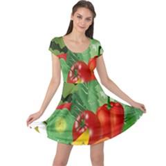 Fruits Vegetables Artichoke Banana Cap Sleeve Dresses