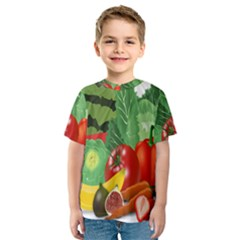 Fruits Vegetables Artichoke Banana Kids  Sport Mesh Tee