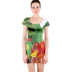Fruits Vegetables Artichoke Banana Short Sleeve Bodycon Dress