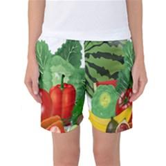 Fruits Vegetables Artichoke Banana Women s Basketball Shorts