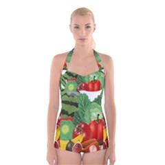 Fruits Vegetables Artichoke Banana Boyleg Halter Swimsuit