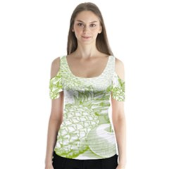 Fruits Vintage Food Healthy Retro Butterfly Sleeve Cutout Tee
