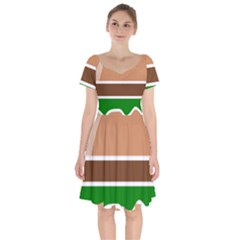Hamburger Fast Food A Sandwich Short Sleeve Bardot Dress