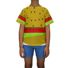 Hamburger Food Fast Food Burger Kids  Short Sleeve Swimwear