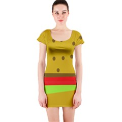 Hamburger Food Fast Food Burger Short Sleeve Bodycon Dress