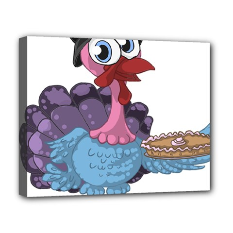 Turkey Animal Pie Tongue Feathers Deluxe Canvas 20  X 16