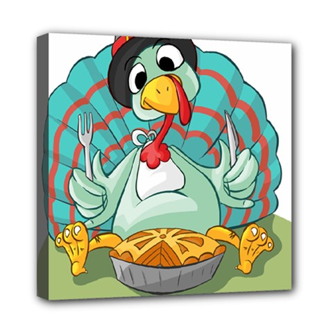 Pie Turkey Eating Fork Knife Hat Mini Canvas 8  X 8