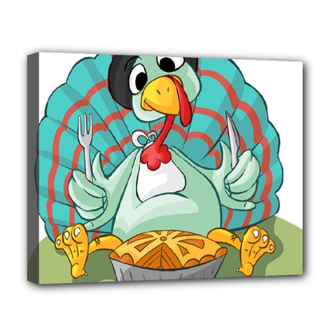 Pie Turkey Eating Fork Knife Hat Deluxe Canvas 20  X 16