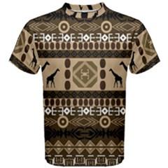 Giraffe African Vector Pattern Men s Cotton Tee