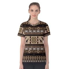 Giraffe African Vector Pattern Women s Cotton Tee