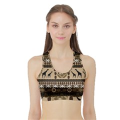 Giraffe African Vector Pattern Sports Bra With Border