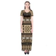 Giraffe African Vector Pattern Short Sleeve Maxi Dress