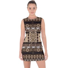 Giraffe African Vector Pattern Lace Up Front Bodycon Dress