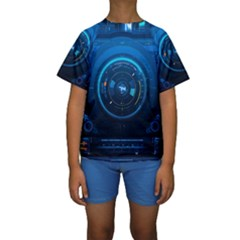 Technology Dashboard Kids  Short Sleeve Swimwear