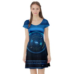 Technology Dashboard Short Sleeve Skater Dress