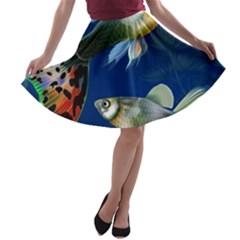 Marine Fishes A Line Skater Skirt