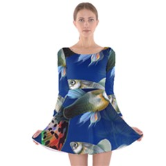Marine Fishes Long Sleeve Velvet Skater Dress