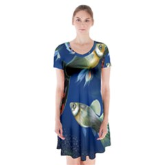 Marine Fishes Short Sleeve V Neck Flare Dress