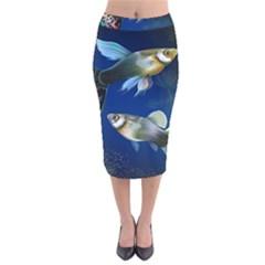 Marine Fishes Velvet Midi Pencil Skirt