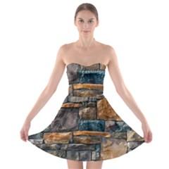 Brick Wall Pattern Strapless Bra Top Dress