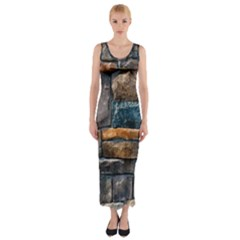 Brick Wall Pattern Fitted Maxi Dress