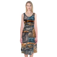 Brick Wall Pattern Midi Sleeveless Dress