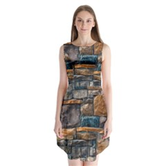 Brick Wall Pattern Sleeveless Chiffon Dress
