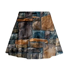 Brick Wall Pattern Mini Flare Skirt