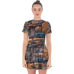 Brick Wall Pattern Drop Hem Mini Chiffon Dress