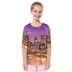 City Night Kids  Quarter Sleeve Raglan Tee