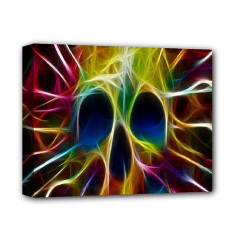 Skulls Multicolor Fractalius Colors Colorful Deluxe Canvas 14  X 11