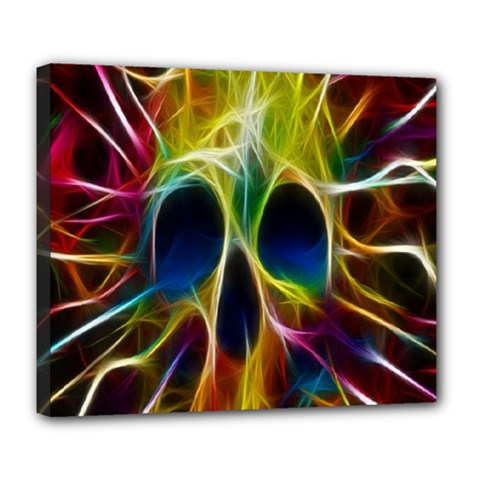 Skulls Multicolor Fractalius Colors Colorful Deluxe Canvas 24  X 20