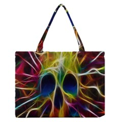 Skulls Multicolor Fractalius Colors Colorful Medium Zipper Tote Bag