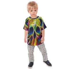 Skulls Multicolor Fractalius Colors Colorful Kids Raglan Tee
