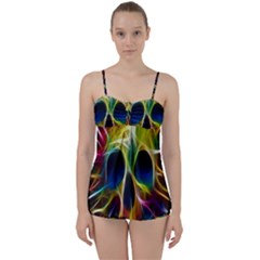 Skulls Multicolor Fractalius Colors Colorful Babydoll Tankini Set