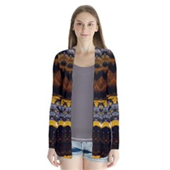 Textures Snake Skin Patterns Drape Collar Cardigan