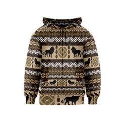 Lion African Vector Pattern Kids  Zipper Hoodie