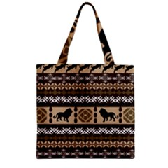 Lion African Vector Pattern Zipper Grocery Tote Bag