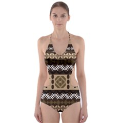 Lion African Vector Pattern Cut Out One Piece Swimsuit