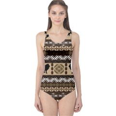 Lion African Vector Pattern One Piece Swimsuit