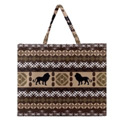 Lion African Vector Pattern Zipper Large Tote Bag