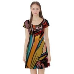 Vivid Colours Short Sleeve Skater Dress