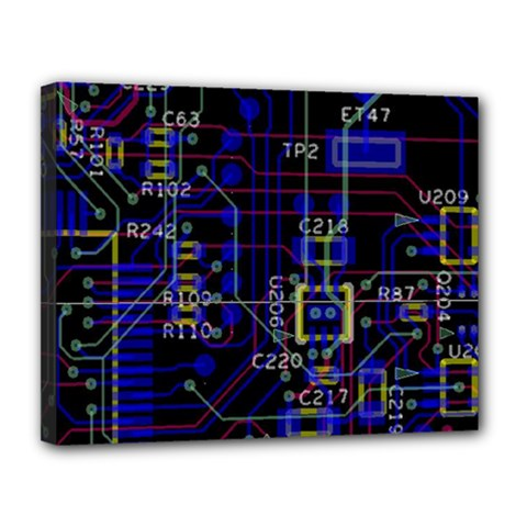Technology Circuit Board Layout Canvas 14  X 11