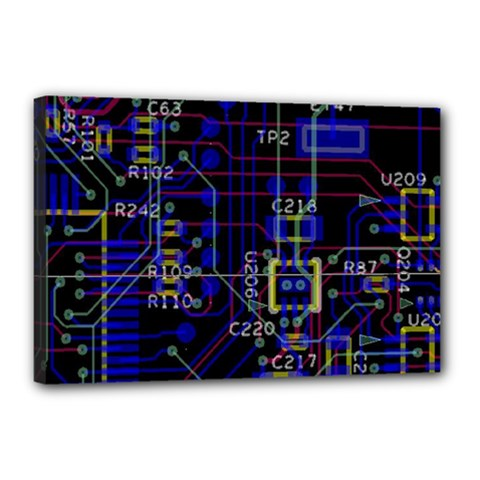Technology Circuit Board Layout Canvas 18  X 12